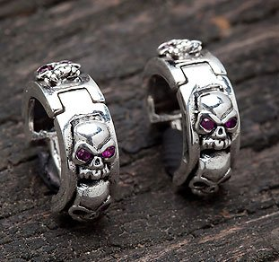 RB Stack Skull .925 Sterling Silver Mens Earrings