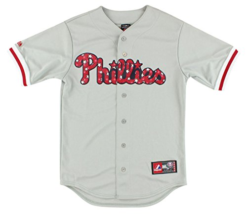 Majestic Mens Philadelphia Phillies MLB Stars and Stripes Replica Jersey Grey S