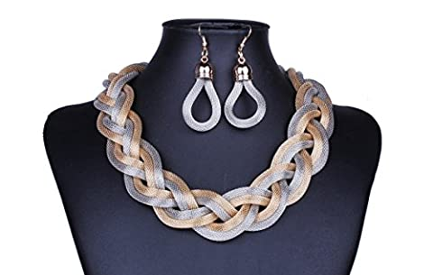 Big Necklaces for Women Silver Gold Braid Twist Long Necklaces for Women Vintage - Braid Vintage Necklace