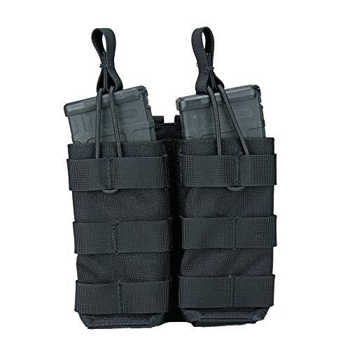 Modular Universal Double Rifle (AR / M4 / AK47 / G36 / M14 / SMG) Magazine Pouch, Open Top (Shingle) (Black) (Magazine Pouch M14)