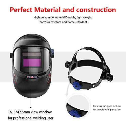 Tekware Welding Helmet 4C Lens Technology Solar Power Auto Darkening Hood True Color LCD Welder Mask Breathable Grinding Helmets with Adjustable Shade Range by TEKWARE (Image #3)