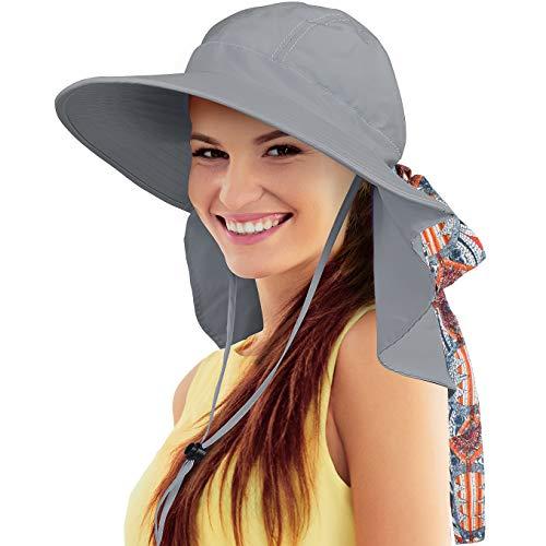 Tirrinia Women Large Brim Adjustable UPF 50+ Sun Hat Safari with Floral Ribbon for Beach Hiking Camping Fishing Gardening Grey
