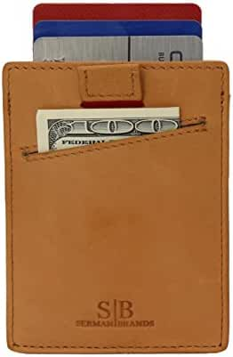 SERMAN BRANDS- Slim Card Sleeve Wallet with RFID Protection - Top Quality Italian Leather - Ultra Thin Card Holder Minimalist Front Pocket Wallet for Men