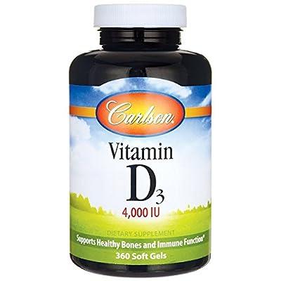Carlson Vitamin D3 4,000 IU, Bone Health, 360 Soft Gels