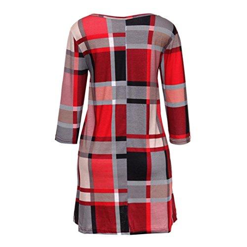 Damen Kleider,Frauen Plaid Print Scoop {Hals lässig Swing) Tunika Mini Dress mit Taschen Red