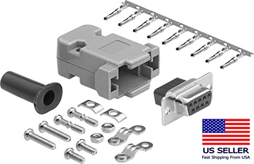 CompuCablePlusUSA.com Best DB9 Connector Kit Set, DB9 Female Crimp Type with PVC Hood + Gold Plated Pro D-Sub Female Pins+ Strain Relief Grommet Connector Kit Set