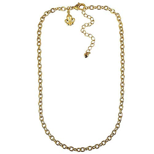 Ritzy Couture Fleur de Lis Signature (Goldtone) Cable Link Pin/Pendant Chain Necklace Jewelry for Girls Women's Costume Anniversary Party Gift (27