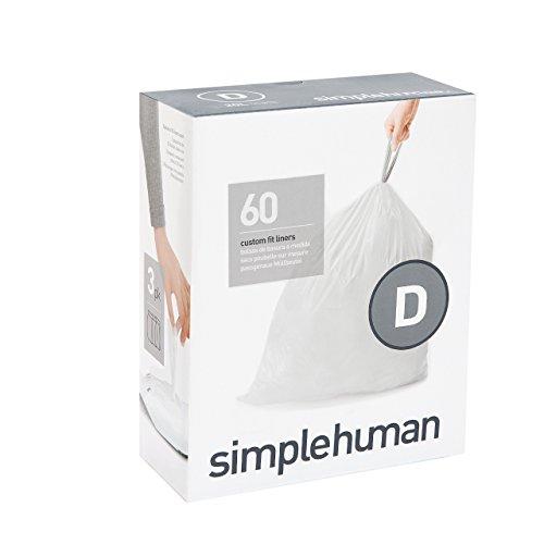 simplehuman Code D Custom Fit Drawstring Trash Bags, 20 Liter / 5.2 Gallon, 3 Refill Packs (60 Count) (Recycle Cardboard Boxes)