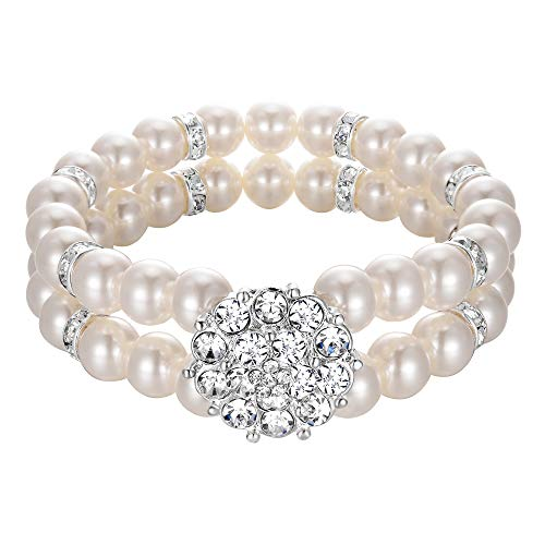 BriLove Women's Wedding Bridal Bracelet, Simulated Pearl Crystal Double Row Strand Cluster Bead Vintage Stretch Bracelet Clear Silver-Tone Ivory Color