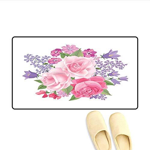 Bath Mat Bridal Bouquet with Booming Flowers Rose Lavender Violet Corsage Door Mats for Inside Pink Lavander Green 32