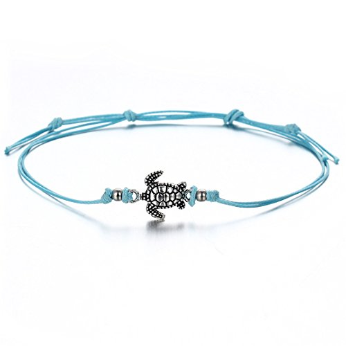 VWH Multiple Layers Anklets for Women Vintage Tortoise Pendant Rope Anklet Animal Foot Ankle Sexy Beach Jewelry (blue)