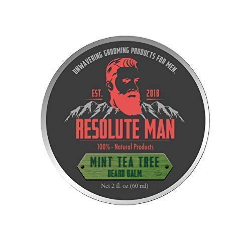 Resolute Man Handmade Natural Organic Beard Styling Balm - Mint Tea Tree Scent, Strong Hold, Leave in Conditioner, Increase Beard Health and Strength, Premium Oils, Beeswax, Shea and Cocoa Butter, 2oz
