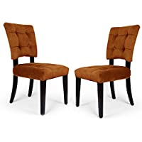Adeco Side Dining Velvet Dining Chair with Solid wood legs, Amber Tufted European Style, Set of 2