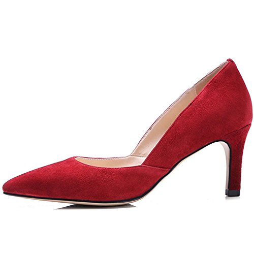 Women's Red Heel Leather Classic Nine Stiletto Pointed Seven Shoes Handmade Pumps Toe Genuine q1wB7Rt