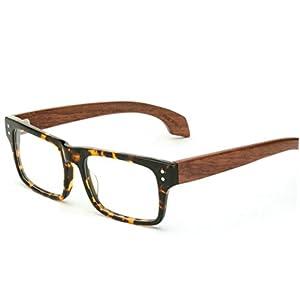 MINCL/Stylish Woodgrain Eyeglasses Frame Faux Wooden Glasses -yhl (Tortoise-plain, Tortoise-plain)