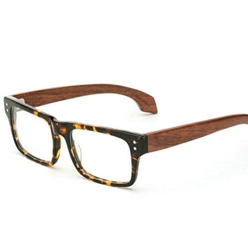 MINCL/Stylish Woodgrain Eyeglasses Frame Faux Wooden Glasses -yhl (Tortoise-plain, ()
