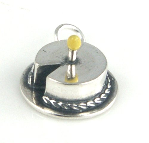 (Sterling Silver Enamel Birthday Cake with 1 Candle Charm - Baby's First Birthday Charm Item #53025 )