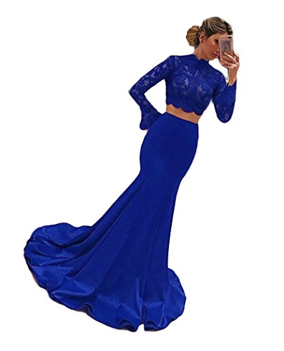 fba5c54560 ... Women s Long Sleeves Prom Dresses Two Piece Mermaid Satin Evening  Formal Gowns Royal Blue US8.   