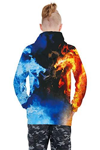 RAISEVERN Boys Girls 3D Print Hoodies Crewneck Long Sleeve Sweatshirts Funny Sweater Pullovers with Pocket 6-16 Years