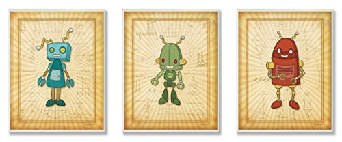 Stupell Home Décor Super Robot with Equations 3-Pc Rectangle Wall Plaque Set, 11 x 0.5 x 15, Proudly Made in USA by The Kids Room by Stupell