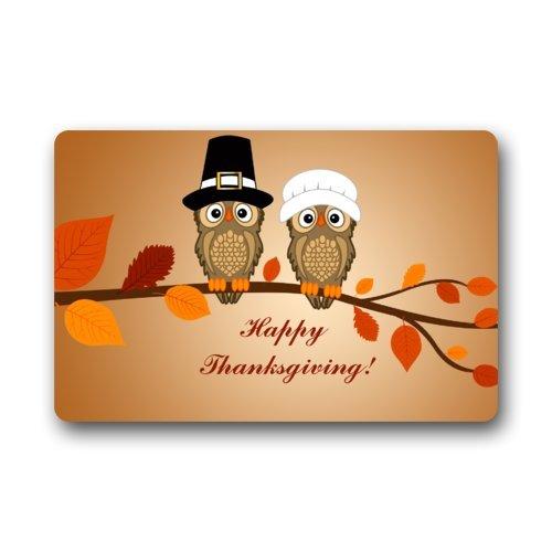 Happy Thanksgiving Funny Owl Art Non-woven Fabric Door Mat Indoor/Outdoor/Bathroom Doormat Rugs for Home/Office/Bedroom 23.6(L) x 15.7(W)