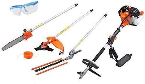 UNITED TRADE Desbrozadora multifunción 4 en 1 de desbrozadora, cortasetos, podadora, cortabordes, barra larga de 74 cm, incluye gafas protectoras