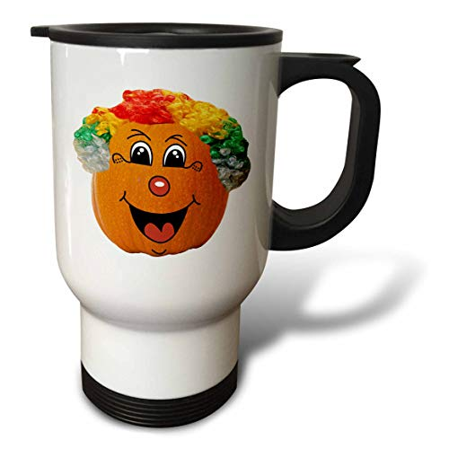3dRose Sandy Mertens Halloween Food Designs - Jack o Lantern Funny Clown Face Halloween Pumpkin, 3drsmm - 14oz Stainless Steel Travel Mug (tm_290217_1) -
