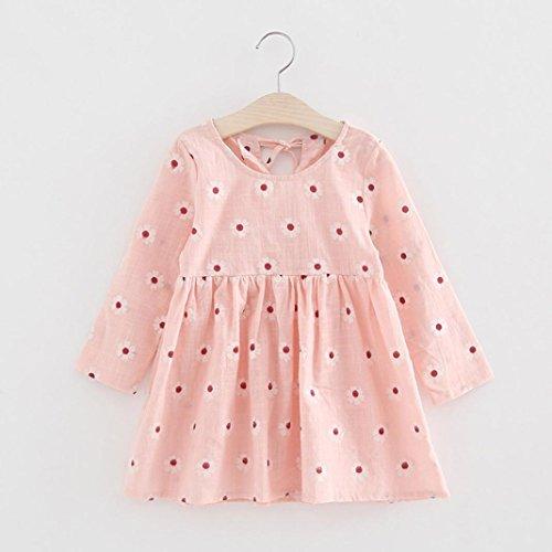 Amlaiworld Mädchen kleid langarm blumen drucken kleider kinder Niedlich Gänseblümchen kleidung,2-6 Jahren Rosa