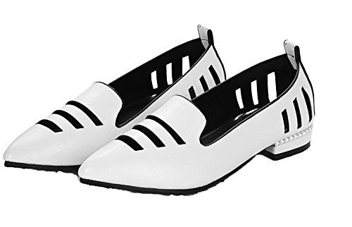 Odomolor Women's Closed-Toe Low-Heels Solid Pull-On Court Shoes White RA4Kk