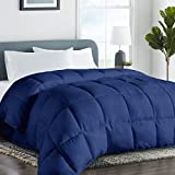 King 2100 Series All-Season Down Alternative Quilted Comforter Duvet Insert with Corner Tabs Warm Winter - Plush Microfiber Fill - Hypoallergenic - Machine Washable - Navy,90 by 102 inch