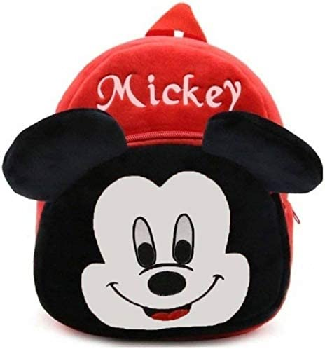 RVA Mickey Baby School Bag for Nursery Kids, Plush Bag - 40 cm (Red/Black)