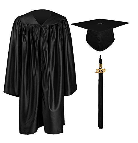 GraduationMall Shiny Kindergarten & Preschool Graduation Gown Cap Set with 2019 Tassel Black 33(4'0