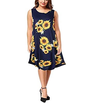 Clearlove Womens Long Sleeve Plus Size Tunic Dress A-line Casual Tshirt Dress