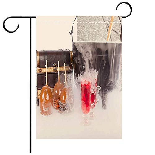 BEICICI Artistically Designed Yard Flags, Double Sided Boiling and Bubbling Halloween Punch with Caramel Apples Decorative Deck, Patio, Porch, Balcony Backyard, Garden or Lawn