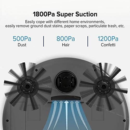 Aspirateur Robot Laveur,1800Pa Multifonctionnel Smart Floor Cleaner 3 En 1 Rechargeable Auto Smart Sweeping Robot Aspirateur De Balayage Humide Et Sec,Noir
