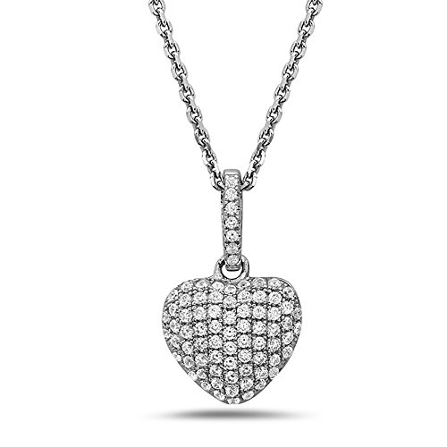 - Crush & Fancy Heart Shape Pendant Necklaces | Made with 925 Sterling Silver and German Crystals | 16-18 inch Chain Included (APHRODITA)