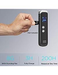 Grabadora de voz digital para lectura, batería de 200 horas de duración, grabación de audio activada por voz transparente de 8 G 560 horas de capacidad de grabación con reproductor de MP3