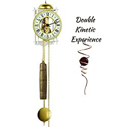 Qwirly 2 Kinetic Items Bundle: Hermle Stuttgart Skeleton Mechanical Movement Wall Clock 70733-00071 and Optical Illusion Spinner - Decorative 8 Day Chain Driven Wall Clock with Pendulum and Weights