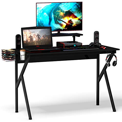 Tangkula Gaming Desk, Ergonomic Racing E-Sports Gamers Computer Desk, Gaming Workstation with Cup & Headphone Holder, K-Shaped Sport Table, PC Laptop Table for Pro Gamers (47.5''X22''X29.5(Lx W x H))