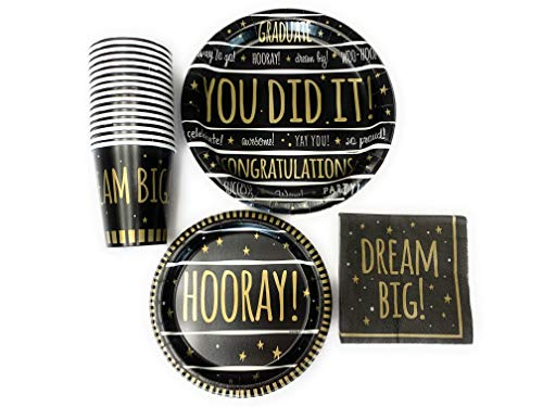 Celebrate Graduation Black and Gold Paper Plates, Napkins and Cups, Heavy Duty Dinnerware Set, 16 ct -