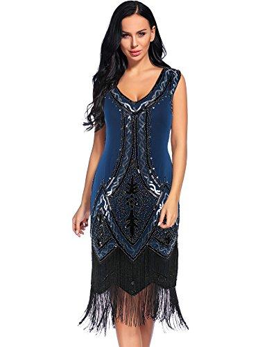 [Flapper Girl Women's 1920s Vintage Beaded Fringed Cocktail Flapper Dress (XL, Navy Blue)] (Blue Flapper Dress)