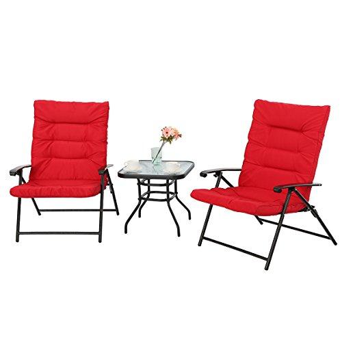 Villa Set - PHI VILLA Patio 3 PC Padded Folding Chair Set Adjustable Reclining Indoor Outdoor Furniture, Red
