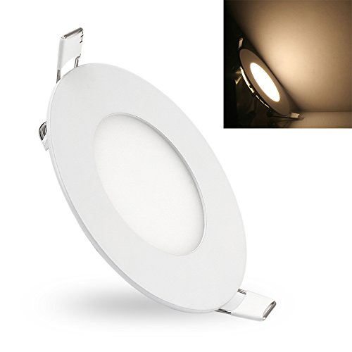 LVJING LED Ceiling Panel Down Light Lamps, Ultra Thin Recessed Lighting Fixture, AC 85~265V, 3000~3500K, 2835 SMD, 2