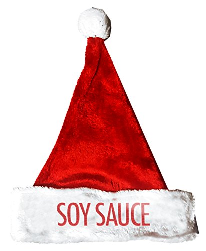 SOY SAUCE Santa Christmas Holiday Hat Costume for Adults and Kids - Soy Costume Sauce