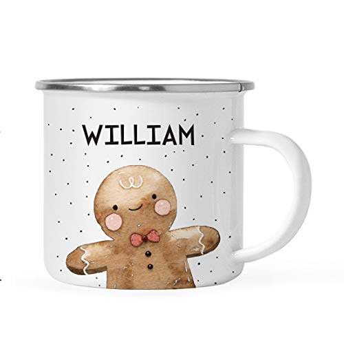 (Andaz Press Personalized 11oz. Stainless Steel Campfire Coffee Mug Gag Gift, Watercolor Gingerbread Boy, 1-Pack, Custom Christmas Holiday Hot Chocolate Cup Present Ideas for Kids Him Her)