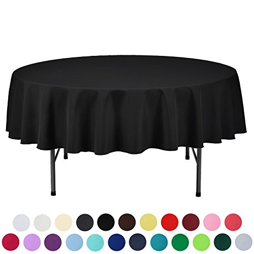 VEEYOO 70 inch Round Solid Polyester Wedding Restaurant Party Tablecloth, Black