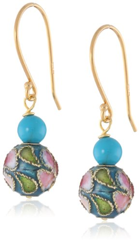 Gold-Plated Sterling Stabilized Turquoise and Blue Cloisonne Bead Drop Earrings ()