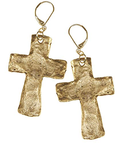 Gold Large Hammered Cross Earrings.