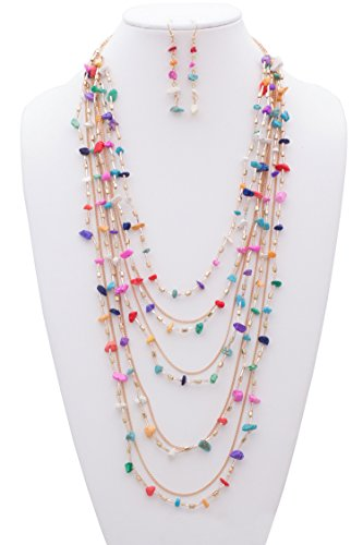{JN0200 J JEWELRY} WOMEN'S FASHIONABLE GEM STONE N BEAD MULTI LAYERED NECKLACE AND EARRINGS SET (GOLD MULTI)