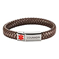 [Engraving] Leather Medical Alert Bracelet - Personalized Medical ID for Men Women Kids Custom Diabetic Alert Bracelet-Brown